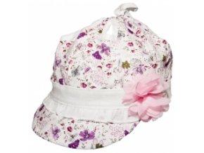 78111 118280 bavlnena letni cepicka yo summer girl bila ruzove kvetinky