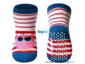 baby ono bavlnene protiskluzove ponozky baby ono 6m sovicka modry lem original