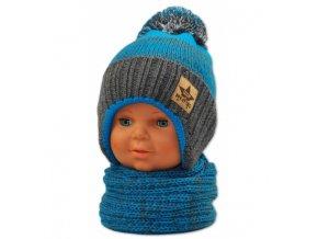 zimni cepice s kominkem modra