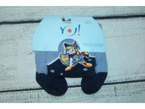 YO ! Bavlněné punčocháčky ABS na chodidle i nártu - modrošedé s rytířem