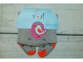 YO ! Bavlněné punčocháčky ABS na chodidle i nártu - šedé s ptáčkem