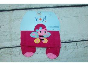 YO ! Bavlněné punčocháčky ABS na chodidle i nártu - růžové s včelkou