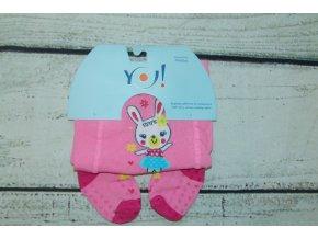 YO ! Bavlněné punčocháčky ABS na chodidle i nártu - růžové se zajíčkem