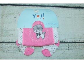 YO ! Bavlněné punčocháčky ABS na chodidle i nártu - růžové s pejskem