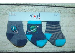 Ponožky YO! 3 páry kluk modrá a šedá 0-3 měsíce