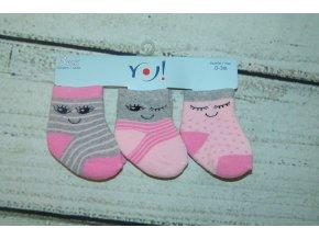 Ponožky YO! 3 páry holka růžová, šedá 0-3 měsíce