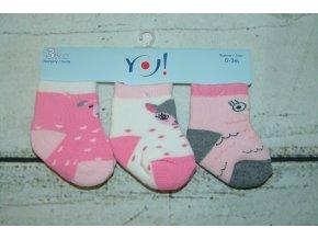 Ponožky YO! 3 páry holka růžová, bílá, šedá 0-3 měsíce