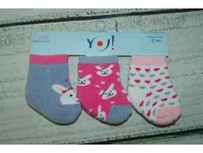 Ponožky YO! 3 páry holka šedá, růžová, bílá 0-3 měsíce
