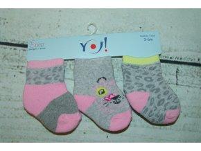 Ponožky YO! 3 páry holka šedá, růžová 3-6 měsíců