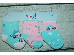 Ponožky YO! 3 páry holka zelená, růžová 3-6 měsíců