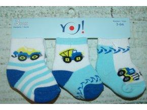Ponožky YO! 3 páry kluk zelená, modrá stroje 3-6 měsíců