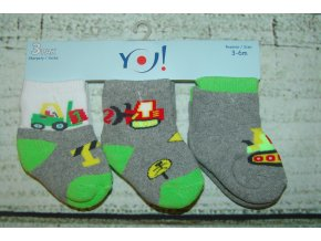 Ponožky YO! 3 páry kluk zelená bílá stroje 3-6 měsíců