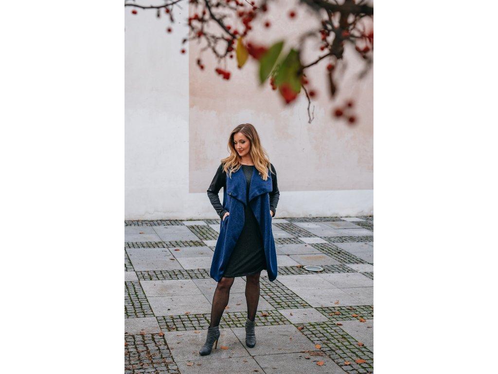 Kabát - dámsky - pleteninový - modrý -s - neoprenovými - rukávy