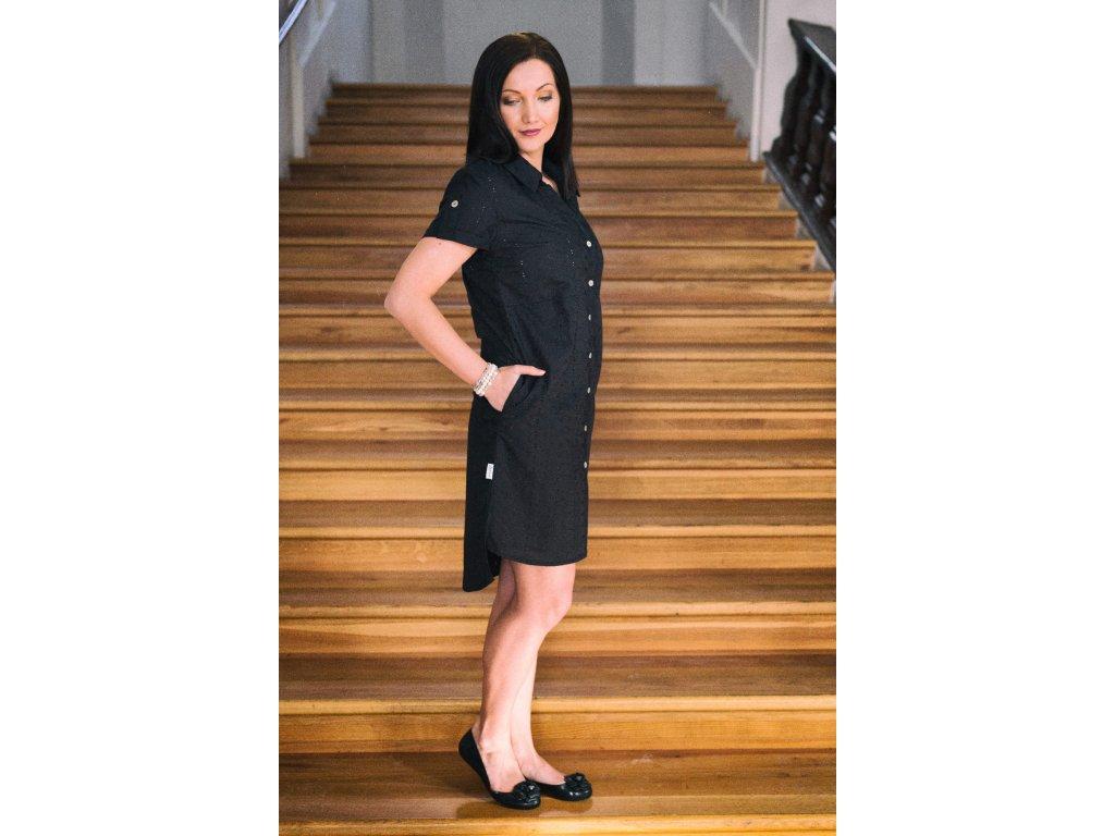 Košilové šaty černé -  madeira