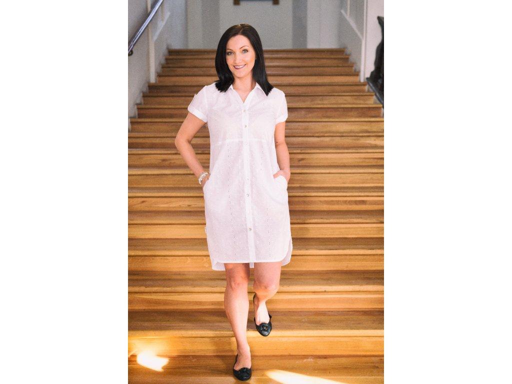 Košilové šaty bílé - madeira
