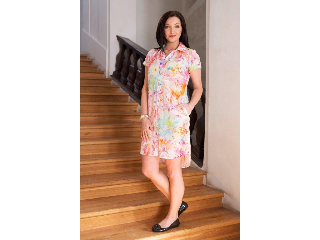 Košilové šaty barevné - batikované