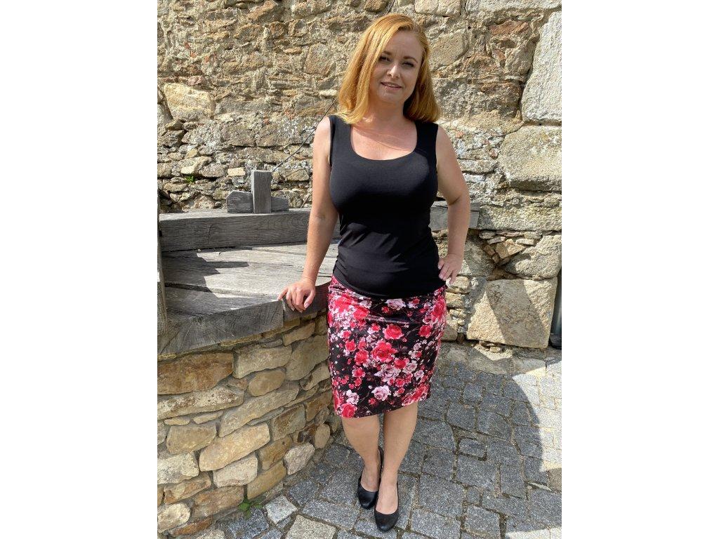 Sukně - černá - květinová se zipem