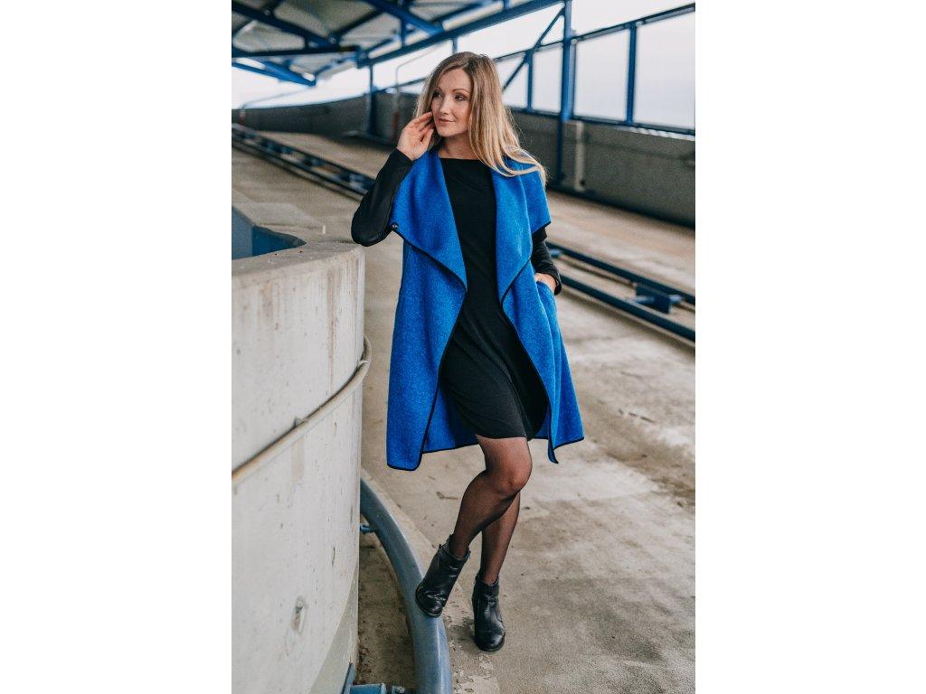 Kabát - dámsky - pleteninový - královsky modrý - s - neoprenovými - rukávy