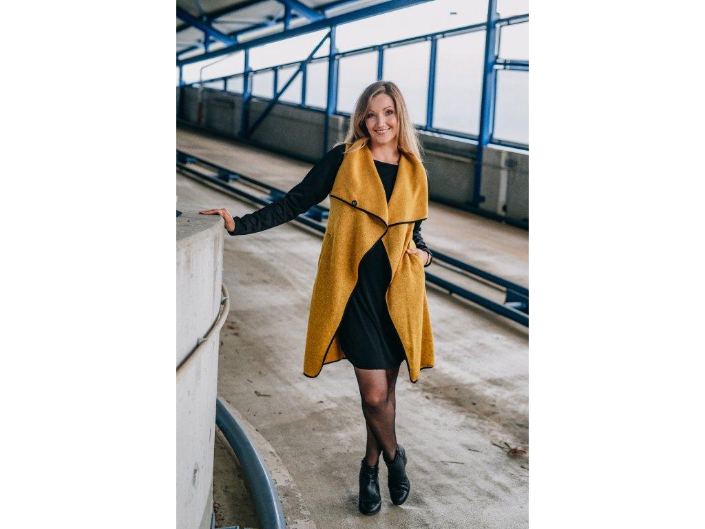 Kabát - dámsky - pleteninový - hořčicově žlutý - s - neoprenovými - rukávy