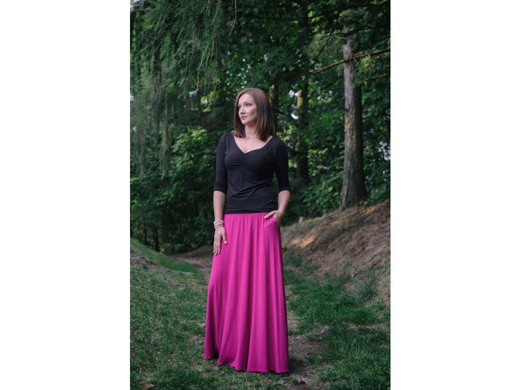 Dlouhá sukně - tmavě růžová