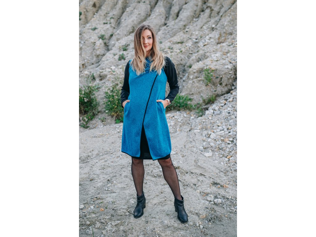 Kabát - dámsky - pleteninový - tyrkysový - s - neoprenovými - rukávy