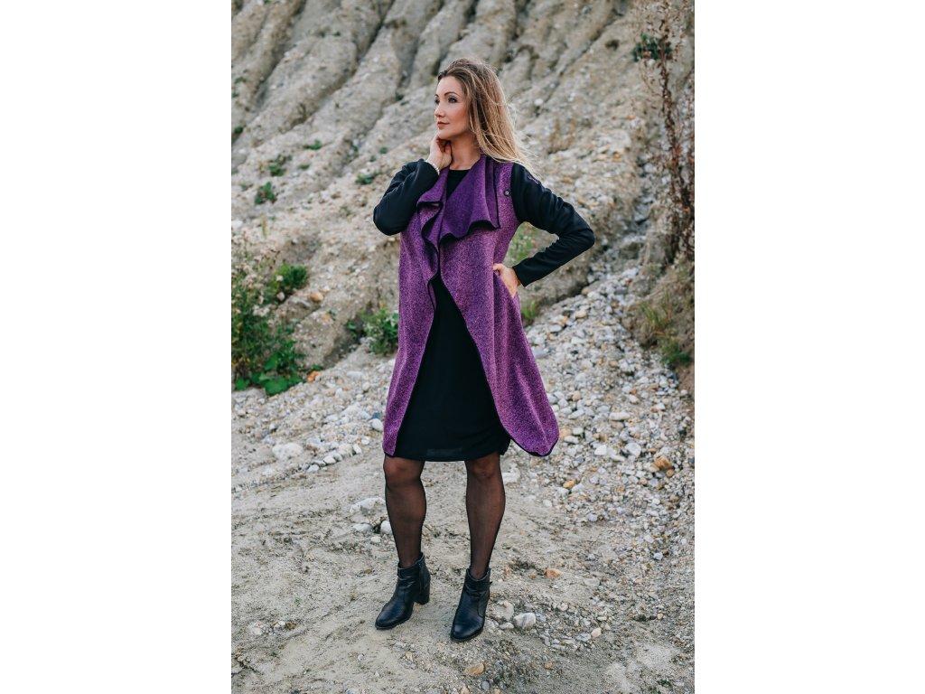 Kabát - dámsky - pleteninový - lila fialový - s - neoprenovými - rukávy