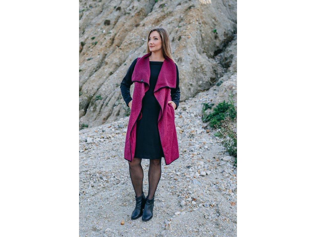 Kabát - dámsky - pleteninový - tmavě růžový - s - neoprenovými - rukávy