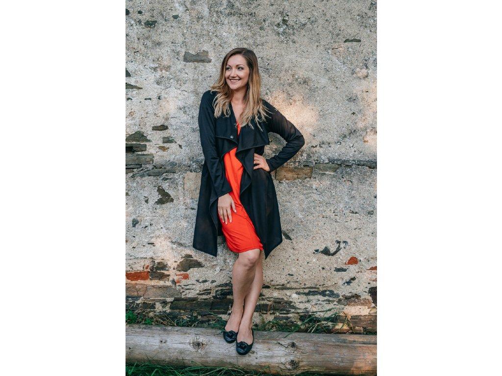 kabátek černý cardigan podzimní jarní zannia s výšivkou