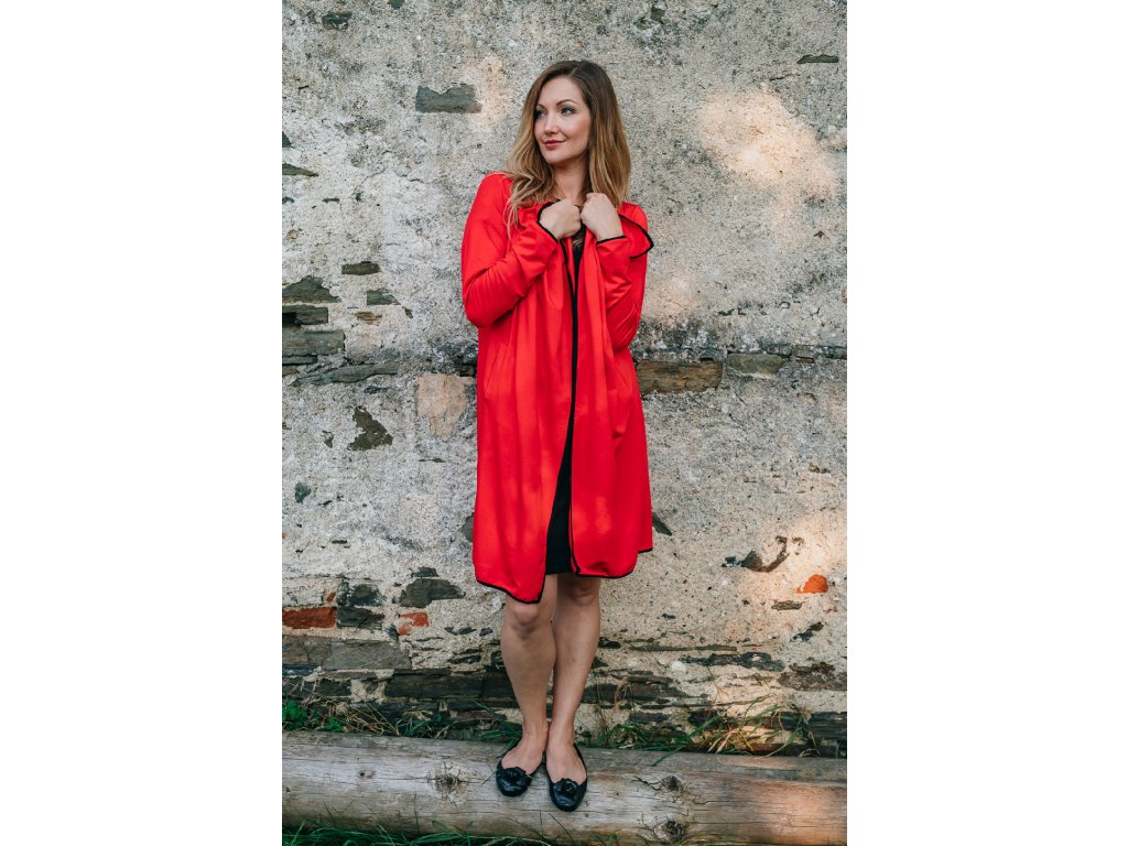 cerveny pohodlny teply kabatek kardigan s lemovanim modalovy bavlneny elasticky jarni podzimn