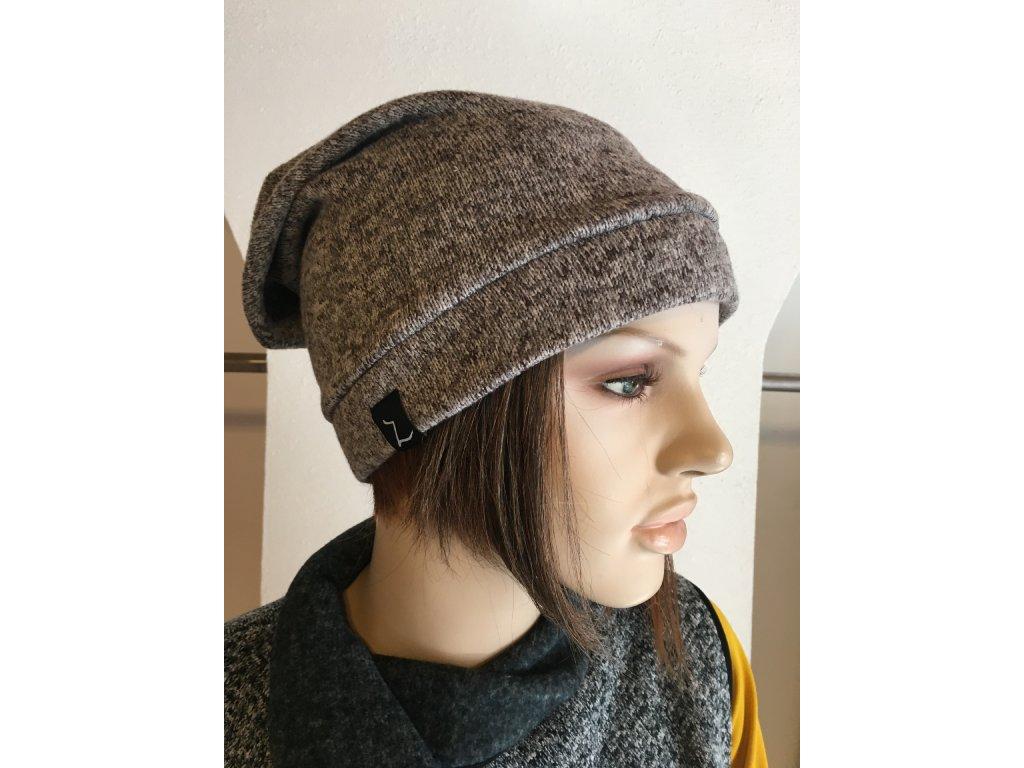 Čepice - hnedobéžová - pleteninová