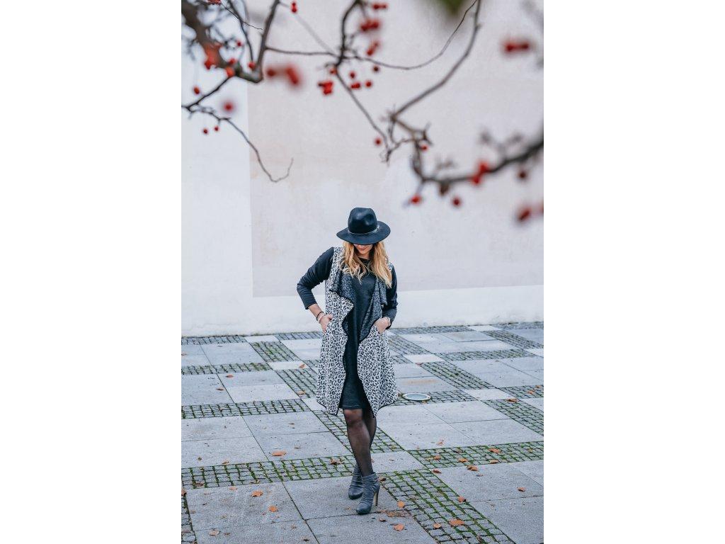 Černo bílý kabátek - zvířecí vzor - kardigan 40