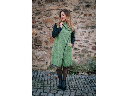 Kabát - pleteninový - zelený - s - neoprenovými - rukávy
