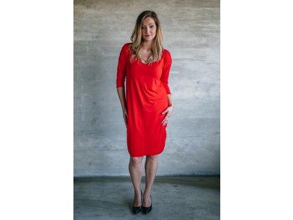 Šaty Sára červená dlouhý rukáv