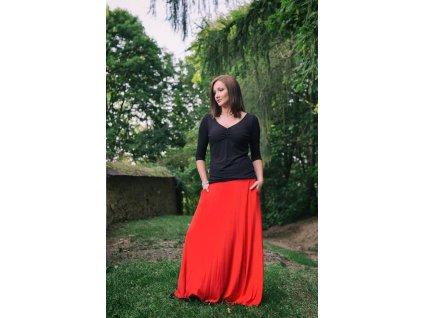 Zannia dlouha sukne cervena