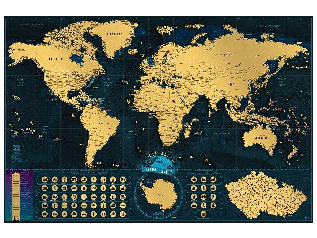 deluxe stiraci mapa sveta ceska verze s darkovym tubusem xl 1