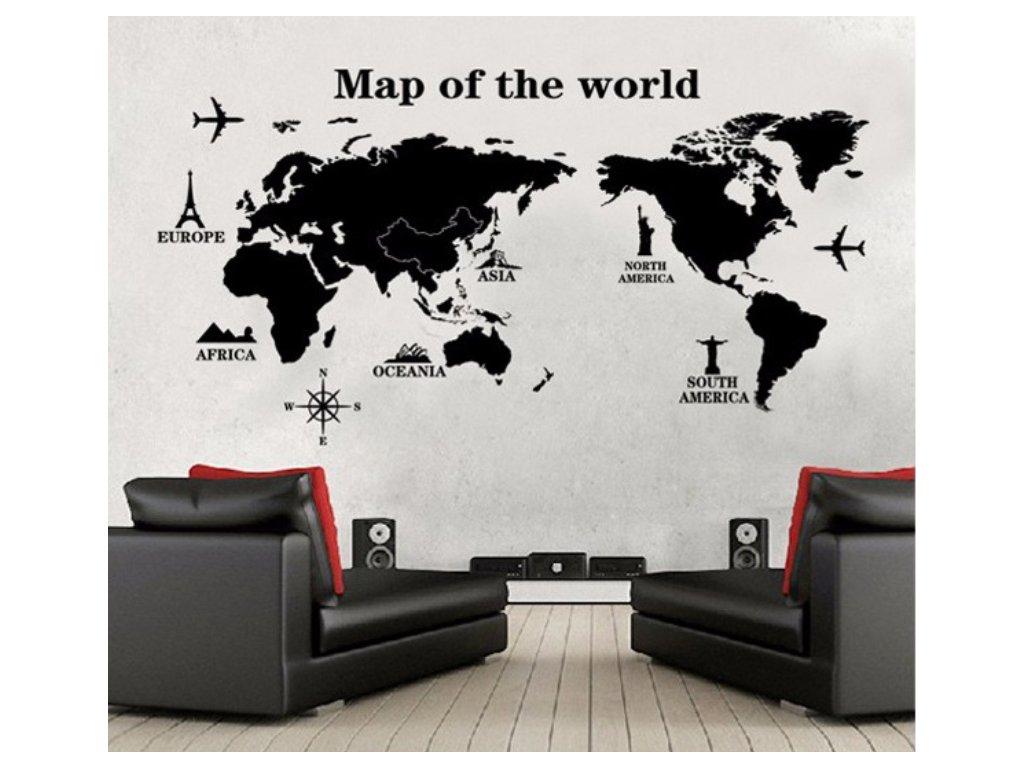 samolepka na zed mapa sveta s pamatkami 2