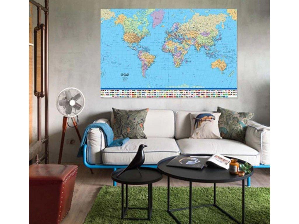 politicka mapa sveta na zed 60 x 90 cm a