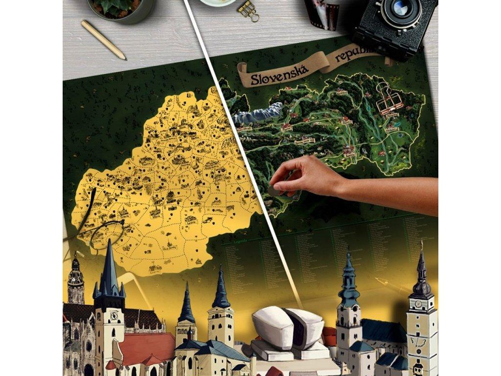 deluxe stiraci mapa slovensko zlata stribrna s darkovym tubusem xl