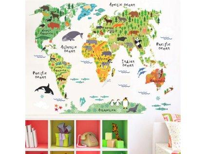 samolepka na zed detska mapa sveta 5