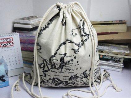 Cestovni vak na zada backpack bavlna se vzorem mapy sveta