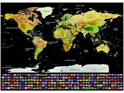 deluxe stiraci mapa sveta s vlajkami 82 5 x 59 4 cm
