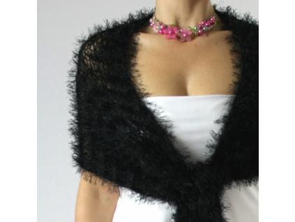Luxusní společenská šála | černé + šedé odstíny