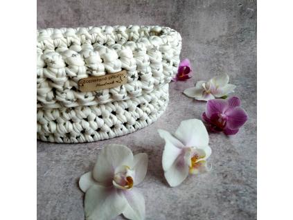 Háčkovaný košík malý - přírodní odstíny
