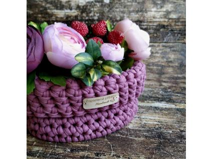Háčkovaný košík malý - fialové odstíny