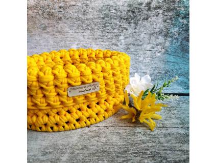 Háčkovaný košík malý | žluté + oranžové odstíny