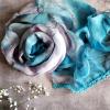 Barevný šátek s krajkou - modré / zelené odstíny
