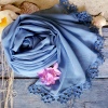 Společenský šál s krajkou | modré + zelené odstíny