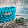 Háčkovaný košík malý - modré / zelené odstíny