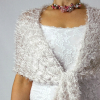 Luxusní svatební šála | bílá + přírodní odstíny