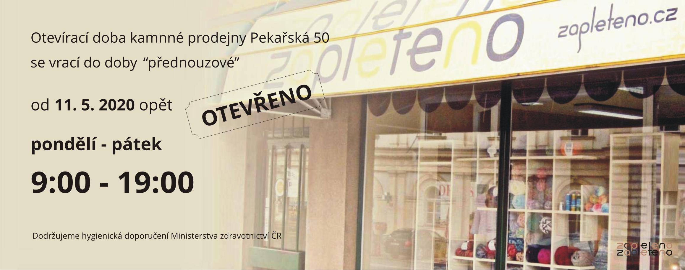 Otevírací doba prodejny Pekařská 50 Brno
